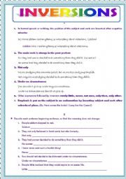 English Worksheet: INVERSIONS