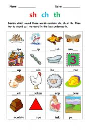 Digraphs -sh, ch, th- - Interactive worksheet