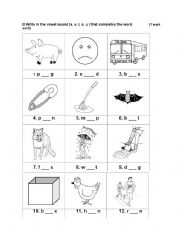 math worksheet : short vowel sounds  medial position : Short Vowel Sounds Worksheets For Kindergarten