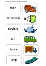 English Worksheets: Memory Game -Transportation