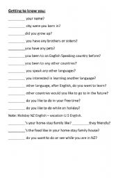English Worksheets: Getting to know you question and answer forms