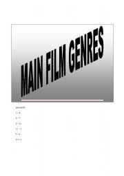 English Worksheet: MAIN FILMS GENRE GAME