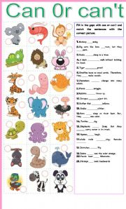 English Worksheet: Can or can�t ability