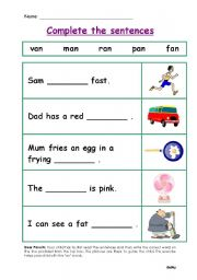 English Worksheets: CVC Fill In The Blanks