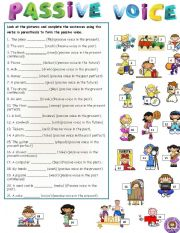 English Worksheets: PASSIVE VOICE (DIFFERENT TENSES)