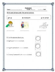 English Worksheets: dail routine