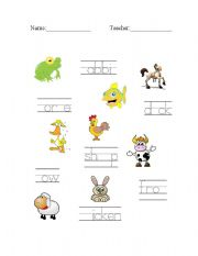 English Worksheets: Farm Animals - Trace, Fill-in Missing Letters, and Match