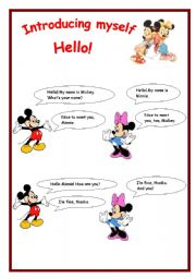 English Worksheets: Introducing myself with Mickey and Minnie!
