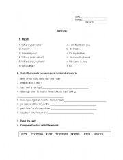 English Worksheets: Worksheet with 6 exercises