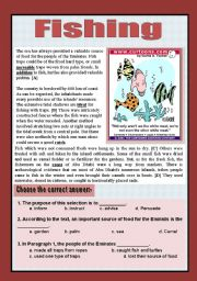 English Worksheets: Reading comprehension ( sea and fishing)