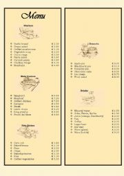English Worksheet: Menu in a restaurant - ordering food