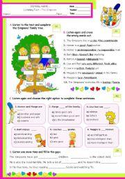 English Worksheet: The Simpson Family  -  Listening Test