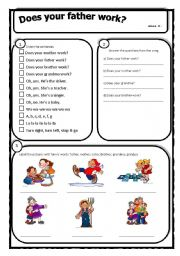 English Worksheets: Does your father work?