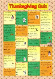 English Worksheet: Thanksgiving Quiz (key included)