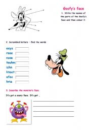 English Worksheets: Goofy�s face