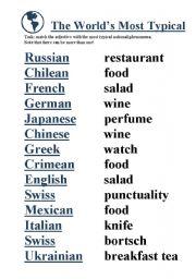 English worksheet: Typical National