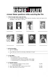 English Worksheets: Romeo & Juliet part 1 (questions)