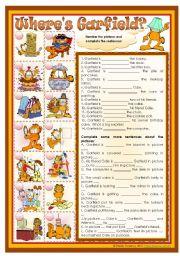 English Worksheet: Where´s Garfield? - prepositions practice *editable