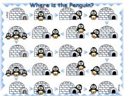 English Worksheets: Where is the Penguin Preposition Board Game with Dice and Bookmarks