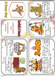 English Worksheet: Garfield´s busy day - prepositions minibook (story) *editable