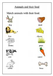 animals and their food esl worksheet by step2eternity. Black Bedroom Furniture Sets. Home Design Ideas
