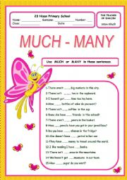 English Worksheet: much many