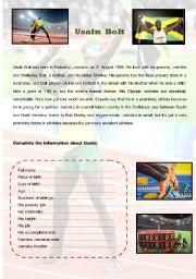 English Worksheets: Usain Bolt Biography