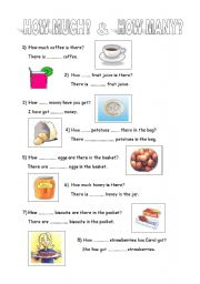 English Worksheets: how much how many