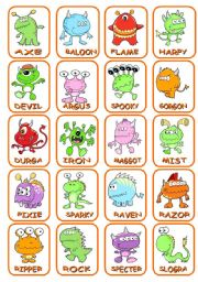 English Worksheet: Who is Who? Guess the monster!