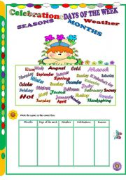 English Worksheet: Days of the week, months, seasons, weather and celebrations