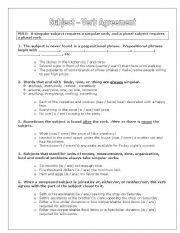 English Worksheet: Problems with subject-verb agreement (notes)