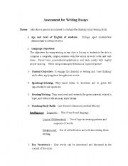 English Worksheets: Assessment/Evaluation/Grading Tool for Writing