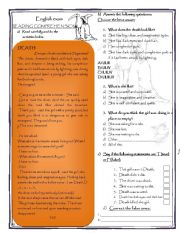 English Worksheets: Reading comprehension  about  Death