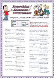 English Worksheet: Something/anythin/anywhere ...