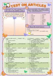 English Worksheet: Test on articles: Definite and Indefinite (editable and with keys)
