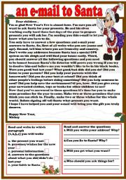 English Worksheet: an e-mail to Santa