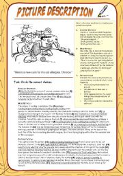 English Worksheet: Picture Description: Cure for my cat allergy (with KEY)