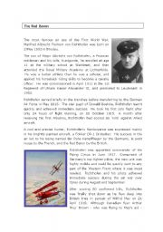 English Worksheets: The Red Baron Comprehension