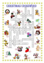 English Worksheet: Christmas crossword + Key is included