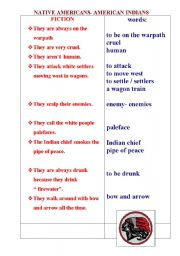English Worksheet: Native Americans- fiction and fact