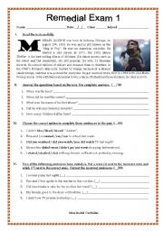 English Worksheets: michael jackson�s bio