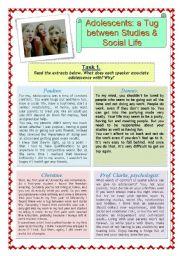 English Worksheets: Adolescents: a Tug between Studies & Social Life