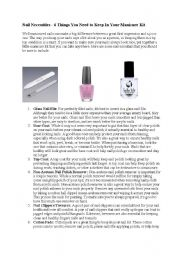 English Worksheets: Nails necessities