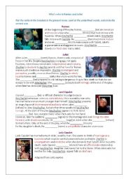 English Worksheet: Who is who in Romeo and Juliet