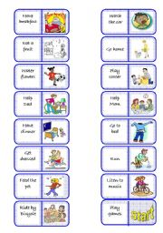 English Worksheets: Daily routines domino - part 2