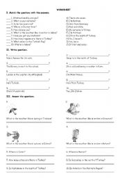 English Worksheet: Revision of unit 1,2,3 for 5th grade in Turkey