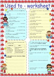 English Worksheet: USED TO - WORKSHEET
