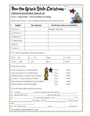 English Worksheets: How the Grinch Stole Christmas Part 5/6.