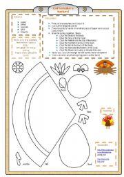 English Worksheet: Thanksgiving turkey craft