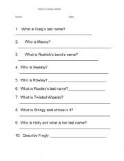 English Worksheet: Diary of a Wimpy Kid test